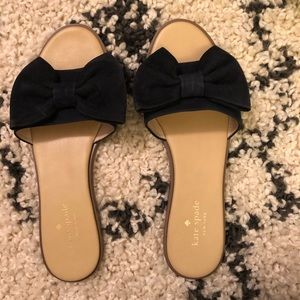Kate Spade Suede Bow Navy flat sandals